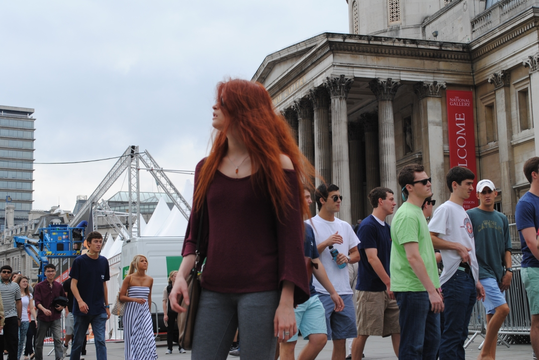 Model Nina Sever in front of the National Gallery, London, 21st June 2013